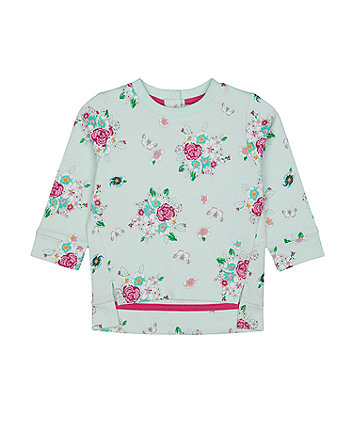 Mothercare Turquoise Floral Sweat Top
