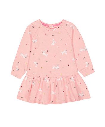 Mothercare Pink Bunny Spring-Garden Print Sweat Dress