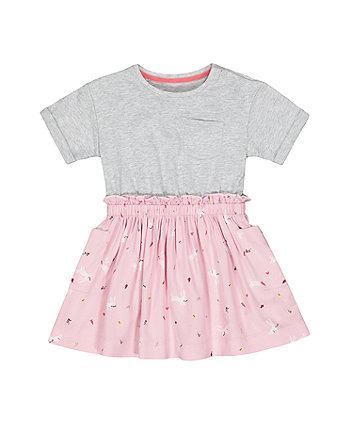 Mothercare Grey And Pink Spring-Garden Print Twofer Dress