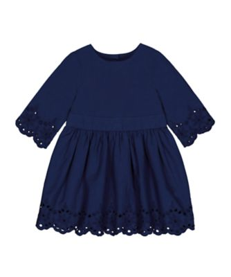 Mothercare Midwest Navy Broderie Hem Dress