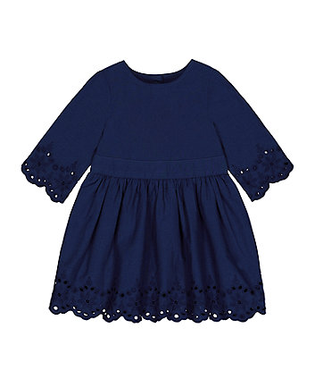 Mothercare Navy Broderie Hem Dress