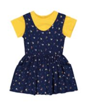 Mothercare Navy Floral Pinny Dress And Tee Set