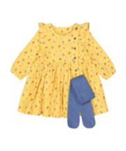 Mothercare Mustard Floral Dress And Tights Set