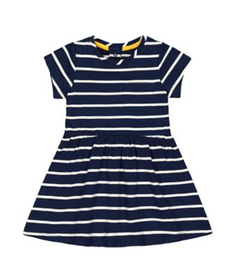 Mothercare Midwest Navy Striped Jersey Short Sleeve Dress