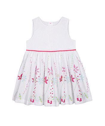 Mothercare Fashion White Border-Print Dress