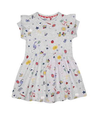 Mothercare Red Alert Grey Printed Waist Jersey Short Sleeve Dress