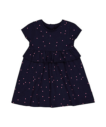 Mothercare Navy Polka Dot Frill Empire-Waist Dress