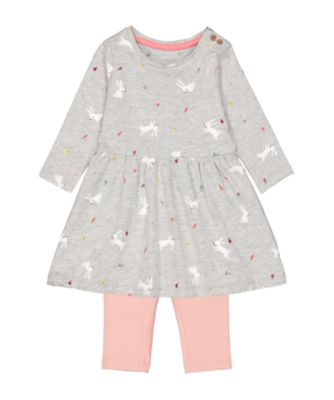 Mothercare Soft Energy Grey Spring-Garden Print Tunic And Pink Ribbed Leggings Set