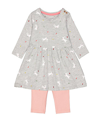 Mothercare Grey Spring-Garden Print Tunic And Pink Ribbed Leggings Set
