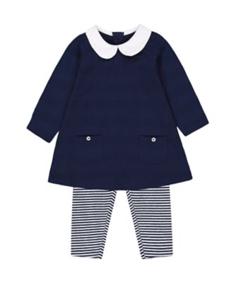 Mothercare Soft Energy Navy Tunic And Striped Leggings Set