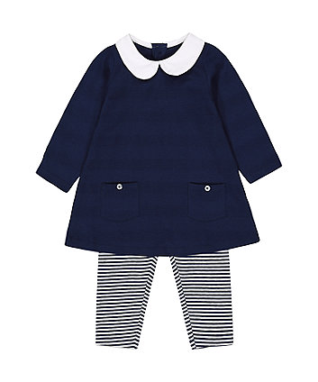 Mothercare Fashion Navy Tunic And Striped Leggings Set