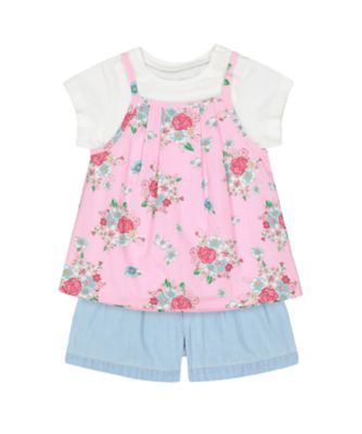 Mothercare Flower Garden Floral Top, T-Shirt And Shorts Set