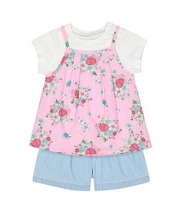 Mothercare Floral Top, T-Shirt And Shorts Set