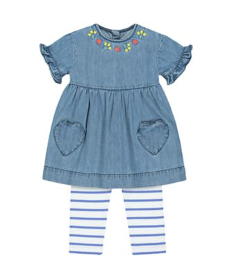 Mothercare Red Alert Embroidered Denim Dress And Leggings Set