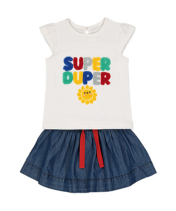 Mothercare Super Duper T-Shirt And Denim Skirt Set
