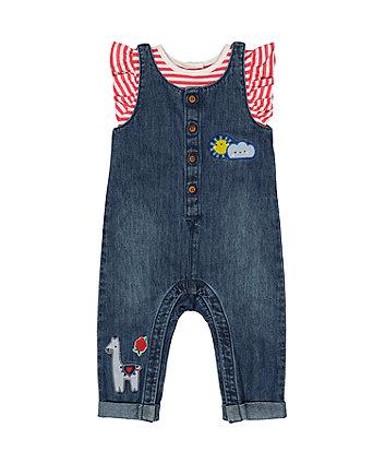 Mothercare Denim Appliqué Dungarees And Stripe T-Shirt Set