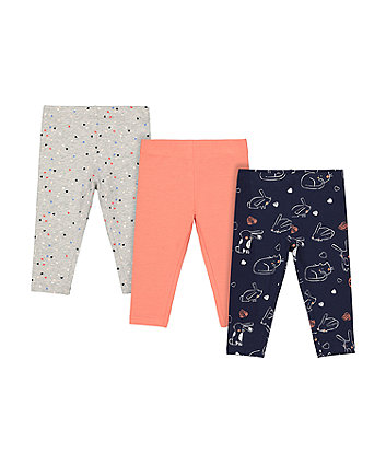 Mothercare Fashion Navy Bunny Cat, Grey Marl Heart And Coral Leggings - 3 Pack