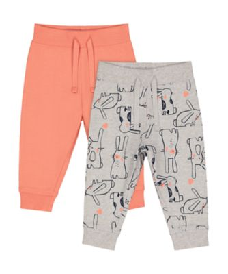 Mothercare MC61 Coral And Grey Bunny Joggers - 2 Pack