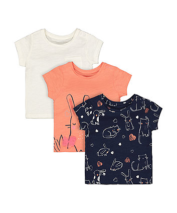 Mothercare Fashion Bunny And Cat T-Shirts - 3 Pack