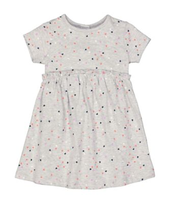Mothercare MC61 Grey Heart-Print Jersey Dress