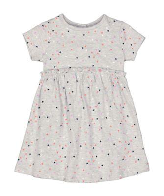 Mothercare MC61 Grey Heart-Print Jersey Dress