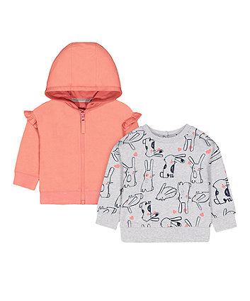 Mothercare Grey Bunny Sweat Top And Coral Zip-Through Hoody Set