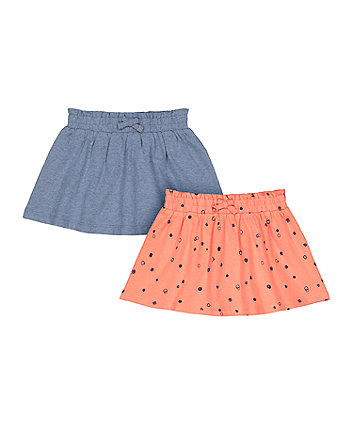 Mothercare Printed And Blue Skirts - 2 Pack