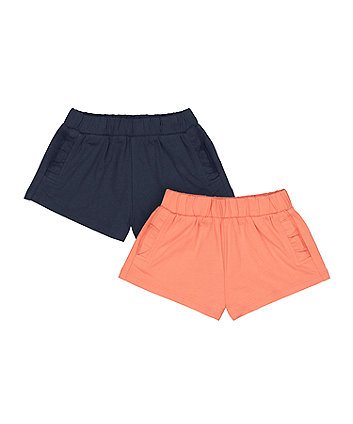 Mothercare Fashion Coral And Navy Shorts - 2 Pack