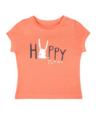 Mothercare MC61 Coral Bunny Happy Times Short Sleeve T-Shirt