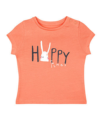 Mothercare Coral Bunny Happy Times T-Shirt