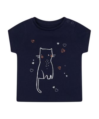Mothercare MC61 Navy Cat Hearts T-Shirt