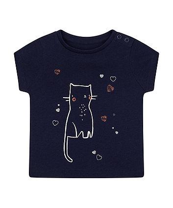Mothercare Navy Cat Hearts T-Shirt