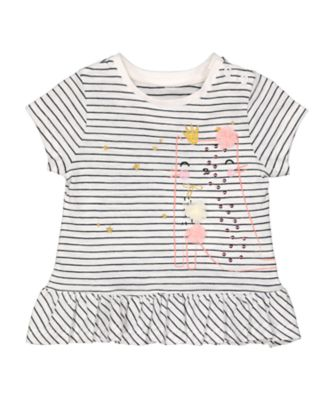 Mothercare MC61 Pinstripe Cat Peplum Short Sleeve T-Shirt