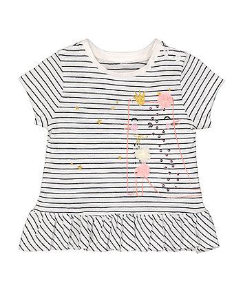 Mothercare Fashion Pinstripe Cat Peplum T-Shirt