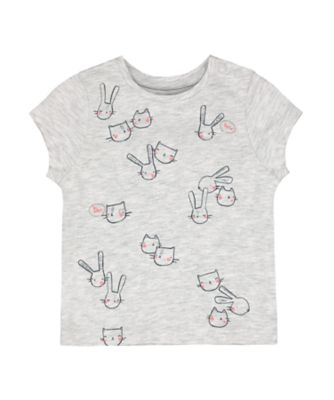 Mothercare MC61 Grey Marl Cat And Bunny Short Sleeve T-Shirt