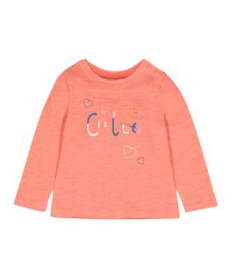 Mothercare MC61 Coral Hi Cutie Long Sleeve T-Shirt