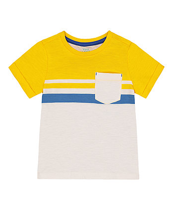 Mothercare Yellow Stripe Pocket T-Shirt
