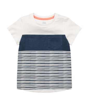 Mothercare Beachcomber Navy And White Striped Short Sleeve T-Shirt