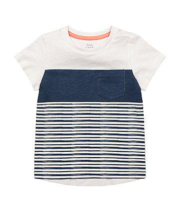Mothercare Navy And White Striped T-Shirt