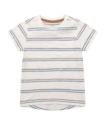 Mothercare Beachcomber Stone Striped Short Sleeve T-Shirt