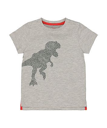 Mothercare Grey Sparkly Dinosaur T-Shirt