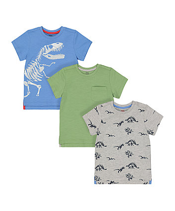 Mothercare Dinosaur And Green T-Shirts - 3 Pack