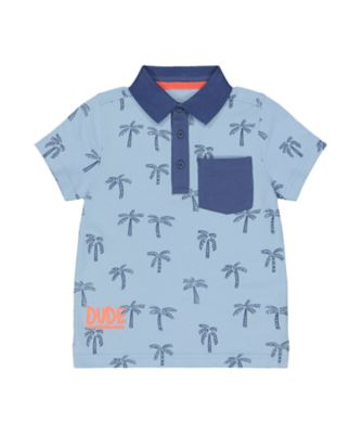 Mothercare Beachcomber Blue Tropical Palm Tree Polo Short Sleeve T-Shirt