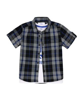 Mothercare Escape Games Checked Short Sleeve Shirt And T-Shirt Set