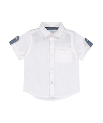 Mothercare Sailing Tales White Cotton Linen Short Sleeve Shirt