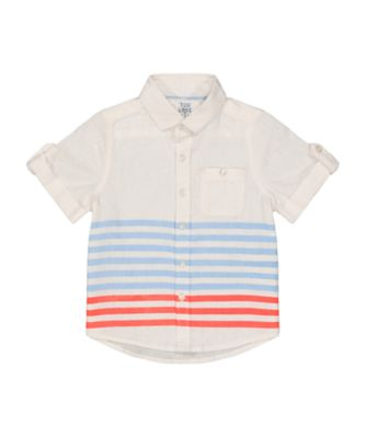Mothercare Beachcomber Blue And Coral Stripe Short Sleeve Shirt