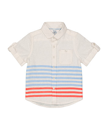 Mothercare Blue And Coral Stripe Shirt