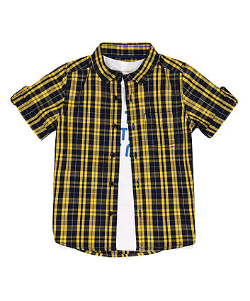 Mothercare Checked Shirt And Printed T-Shirt Set