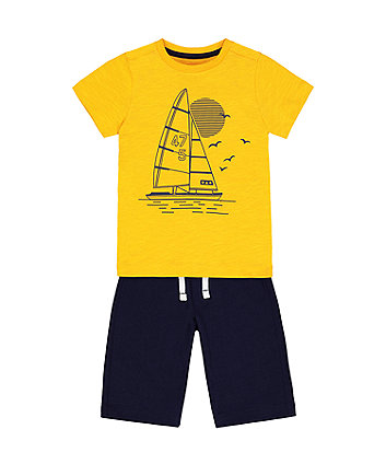 Mothercare Yellow Boat T-Shirt And Shorts Set