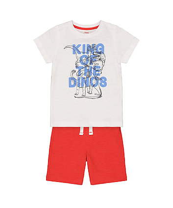 Mothercare T-Rex King Of Dinosaurs White T-Shirt And Red Shorts Set